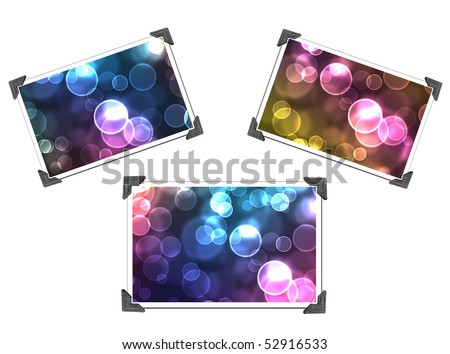 3 Bokeh Pictures with photo corners isolated on white - stock photo