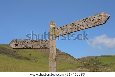 """""""Bolberry, Bolt Tail, Soar Mill Cove, Bolt Head"""" Signpost on the South West Coastal Path on the South Coast Devon, England, UK - stock photo"""