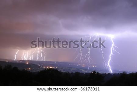 16 bolts of lightning - stock photo