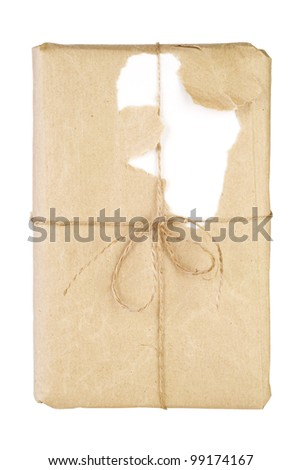 book, in wrapping paper, free copy space, isolated - stock photo