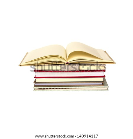 books on white background , clipping-path - stock photo