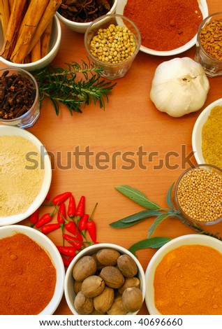 border of spice and herbs - stock photo