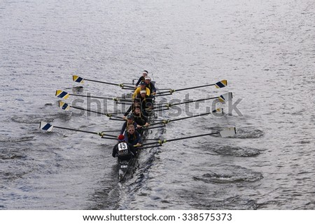 BOSTON - OCTOBER 18, 2015: Dallas United races in the Head of Charles Regatta Women's Youth Eights [PUBLIC RACE] - stock photo
