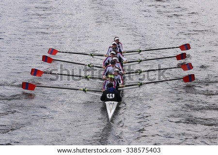 BOSTON - OCTOBER 18, 2015: St. Catharines races in the Head of Charles Regatta Women's Youth Eights [PUBLIC RACE] - stock photo