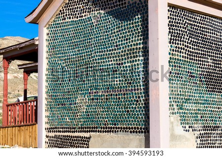 """Bottle House"" in Rhyolite Ghost Town, Nevada, BLM owned - stock photo"