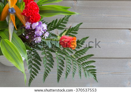bouquet of flowers of different varieties. space for inscriptions. - stock photo