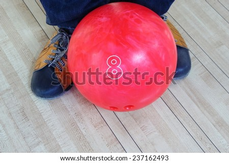 bowling ball, Colorful bowling balls in front of the tenpin alley with shoes background, sport competition.  - stock photo