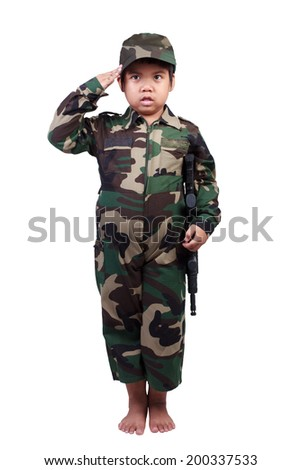 boy dressed like a soldier  isolated on white background with clipping path - stock photo