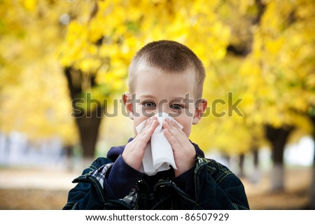 boy in the yellow leaves - stock photo