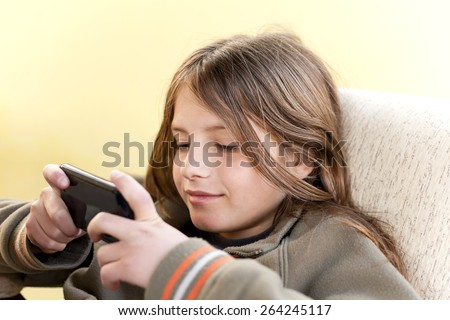 boy with smartphone - stock photo
