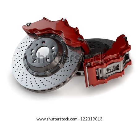 Brake Discs with Red Callipers from a Racing Car isolated on white background - stock photo