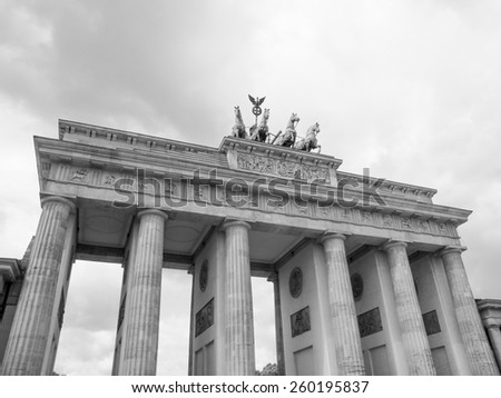 Brandenburger Tor Brandenburg Gate famous landmark in Berlin Germany in black and white - stock photo