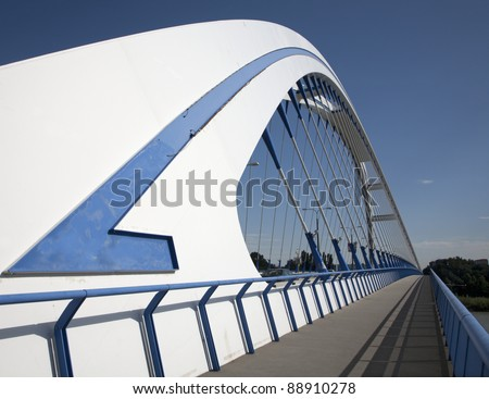 Bratislava - Apollo new arched bridge - stock photo
