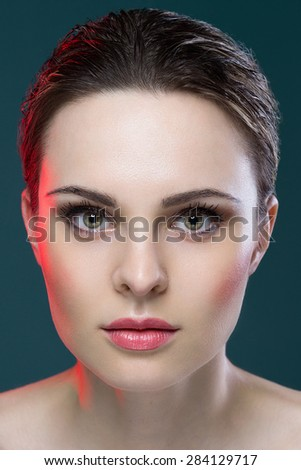 Breathtaking portrait of beauty model with green eyes  - stock photo