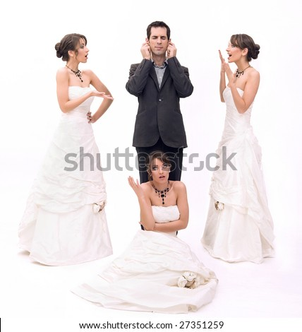 3 brides and 1 groom - stock photo