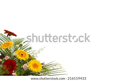 Bright flower bouquet isolated over white background - stock photo