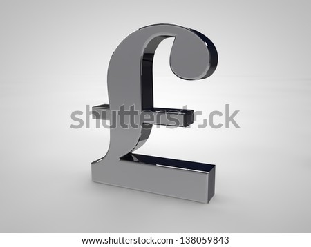 British-Pound symbol isolated on white in silver - stock photo