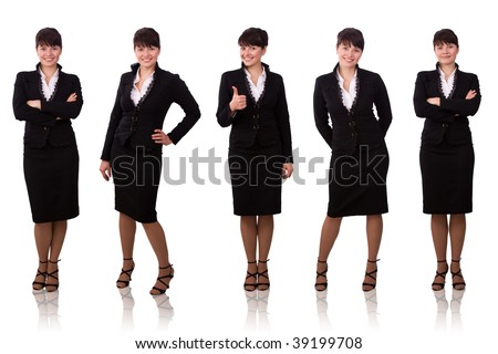 Brunette businesswoman dressed in black suit. Isolated over white background. - stock photo