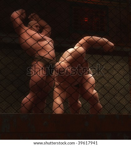 2 Brutes in the Ring - stock photo