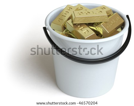 bucket. In my portfolio there is collection of pictures of gold. You only enter IN a SEARCH the Photographer Name: PAVEL IGNATOV and keyword: GOLD - stock photo