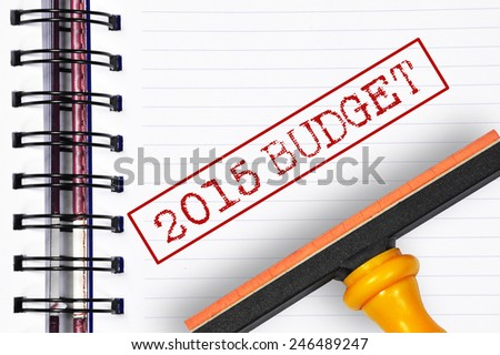 2015 budget rubber stamp on the note book - stock photo