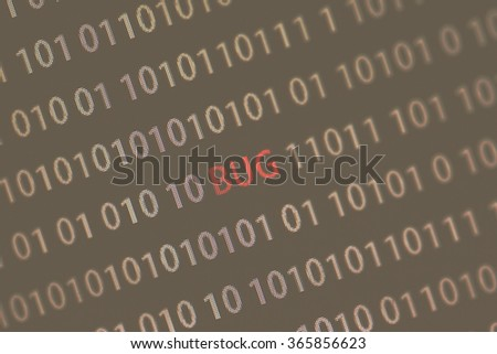 'Bug' word in the middle of the computer screen surrounded by numbers zero and one. Image is taken in a small angle. Image has a vintage effect applied. - stock photo