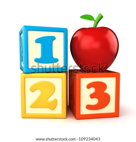 123 building blocks with apple on white background - stock photo