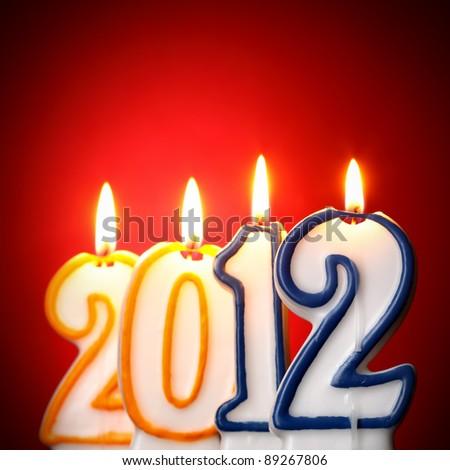 2012 burning candles - stock photo