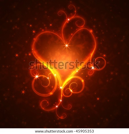 burning heart with sparkles on a dark background - stock photo