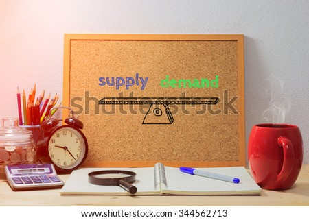 Business  concept.Wood boards with text inside Supply Demand on table with coffee. office equipment - stock photo