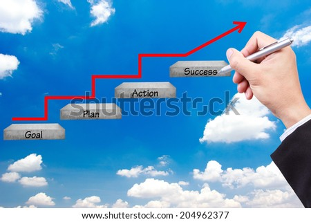 business hand writing pose and walking up stepping ladder have red rising arrow on blue sky with word goal plan action success idea concept for success and growth  - stock photo