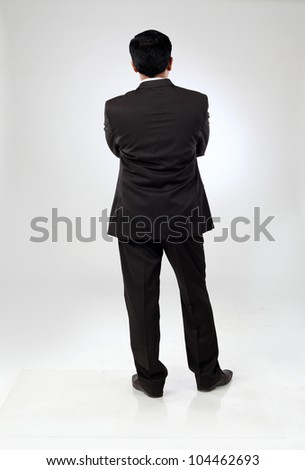 business man full body from back - stock photo