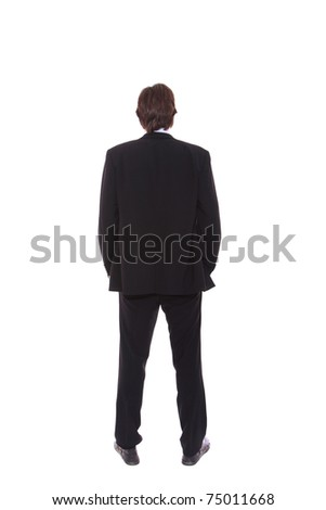 business man full body from back isolated - stock photo