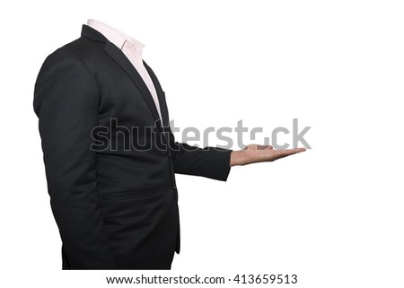 business man showing something on his hand - stock photo
