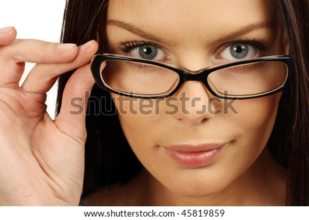 business woman portrait wearing glasses - isolated over a white background - stock photo