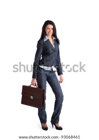 Business woman with briefcase isolated over a white background - stock photo