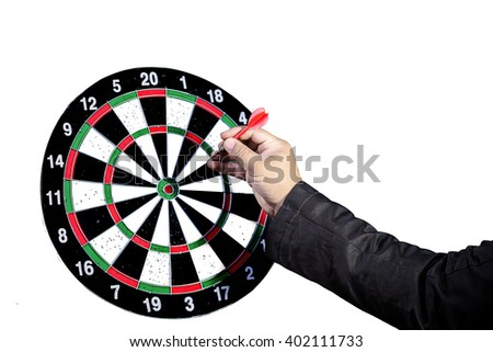 Businessman Getting Ready to throw a Plastic tip Dart - stock photo