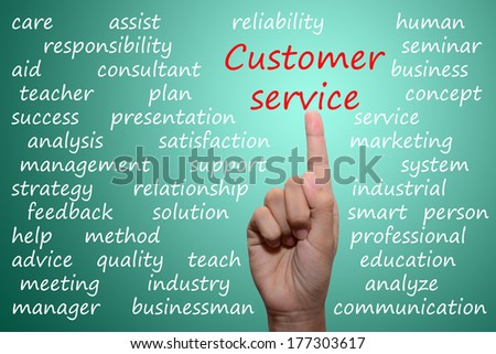businessman pointing customer service concept  - stock photo