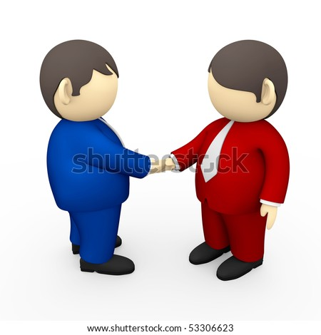 2 Businessmen handshaking for a deal - stock photo