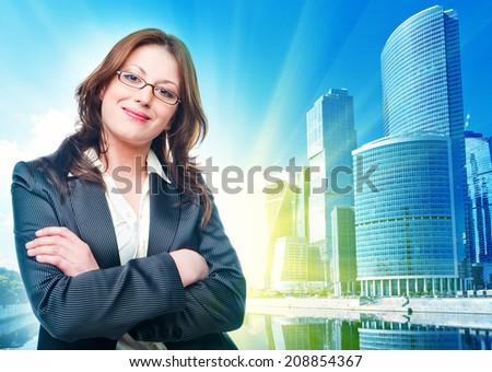 . Businesswoman standing in suit - stock photo