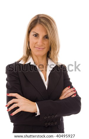 Businesswoman with her arms crossed isolated on white - stock photo