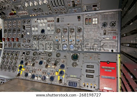cabin dashboard of airline pilot in aircraft plane airplane - stock photo