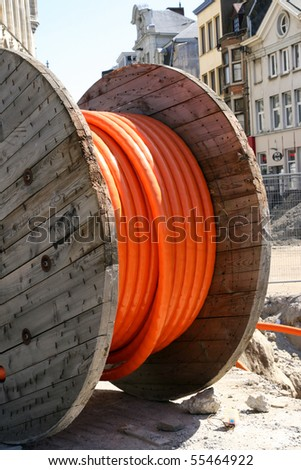 """cable-orange-construction works"" - stock photo"