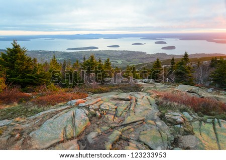 Cadillac Mountain at Acadia National Park in Maine - stock photo