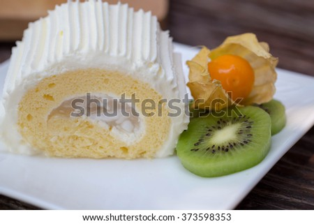 cake roll - stock photo