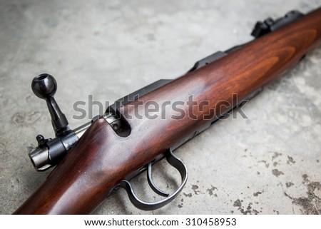 .22 Cal long rifle close up. - stock photo