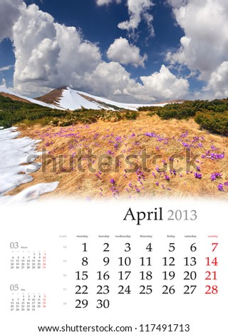 2013 Calendar. April. Beautiful spring landscape in the mountain - stock photo
