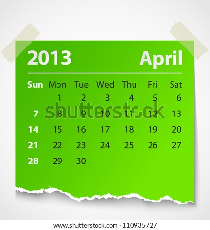 2013 calendar april colorful torn paper. Vector illustration - stock photo