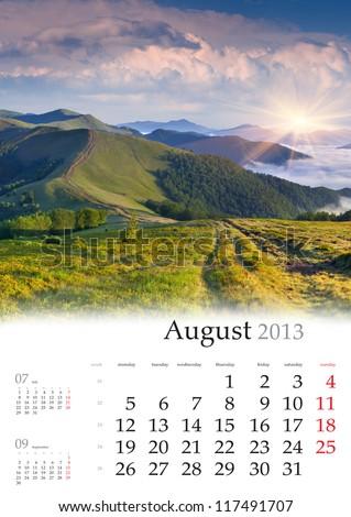 2013 Calendar. August. Beautiful summer landscape in the mountains - stock photo