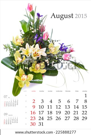2015 Calendar. August. Bright flower bouquet on white background - stock photo